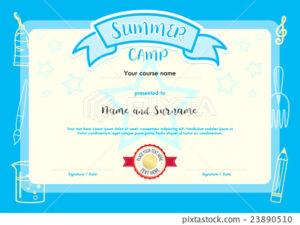 Kids Summer Camp Document Certificate Template – Stock with Summer Camp Certificate Template