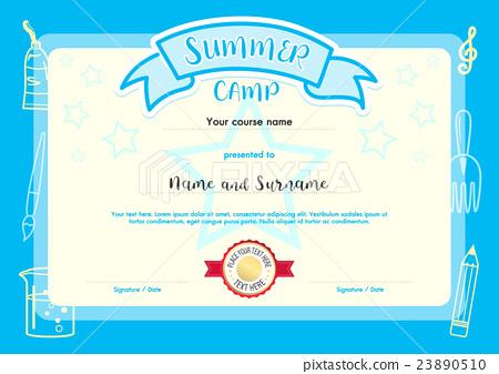 Kids Summer Camp Document Certificate Template - Stock with Summer Camp Certificate Template