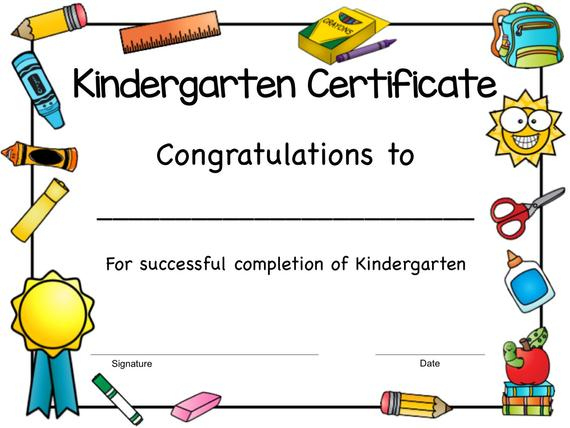 Kindergarten Certificate, Kindergarten Award, Kindergarten Completion,  Kindergarten Graduation Certificate, Printable, Instant Download inside New Kindergarten Graduation Certificate Printable
