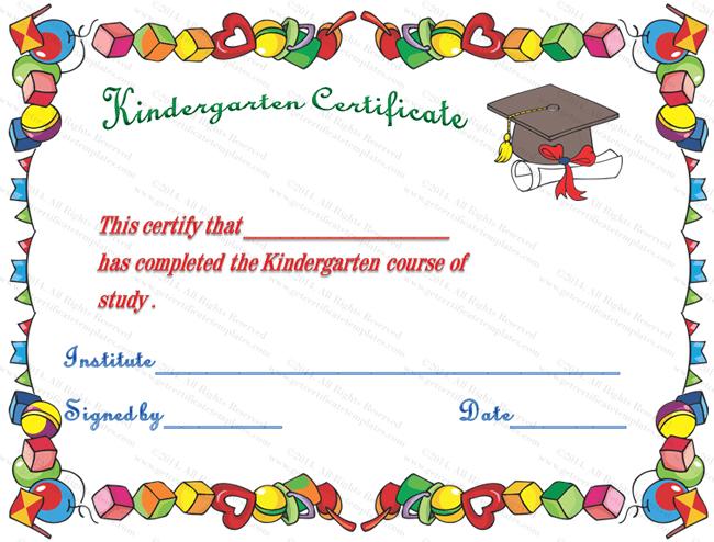 Kindergarten Diploma Certificate | Kindergarten Graduation with Kindergarten Completion Certificate Templates