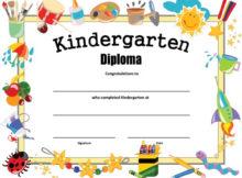 Kindergarten Diploma - Free Printable - Allfreeprintable in Kindergarten Certificate Of Completion Free