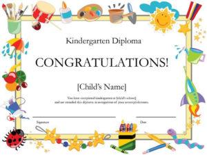 Kindergarten Diploma   Free Printable Certificate Templates for 10 Kindergarten Graduation Certificates To Print Free