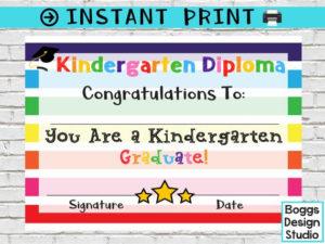 Kindergarten Diploma, Kindergarten Certificate, Printable School Award,  Graduation Diploma, Blank School Diploma, Instant Download intended for Printable Kindergarten Diploma Certificate