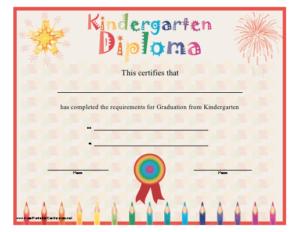 Kindergarten Diploma Printable Certificate pertaining to Printable Kindergarten Diploma Certificate