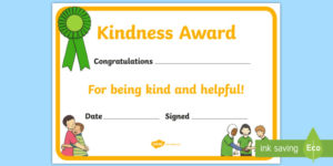 Kindness Award Certificate (Teacher Made) pertaining to Certificate Of Kindness Template Editable Free