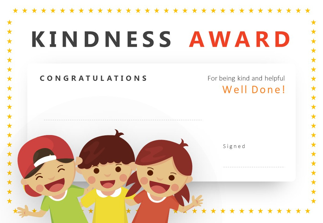 Kindness Award Powerpoint Certificate - Pslides inside Unique Certificate Of Kindness Template Editable Free