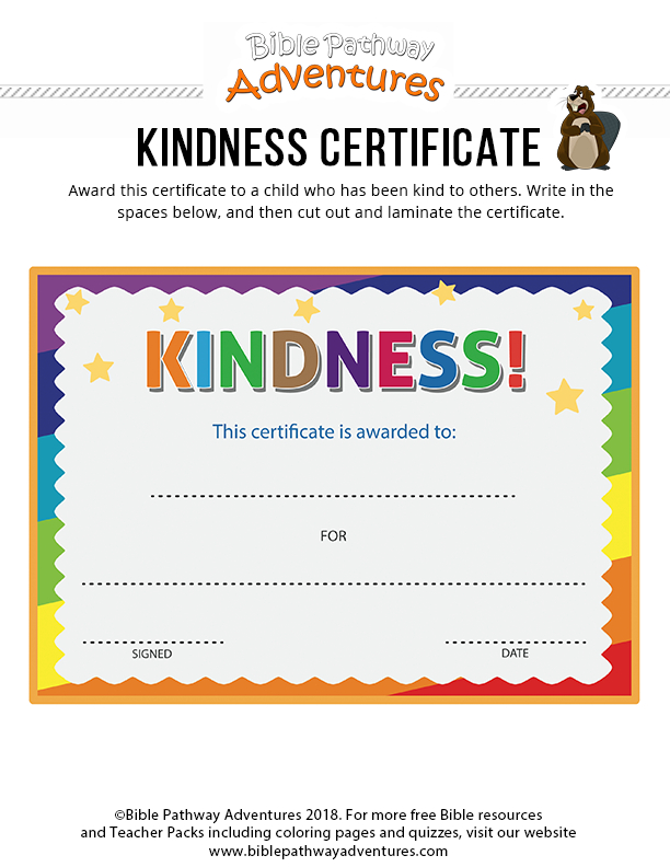 Kindness Certificate | Bible Lessons For Kids, Lessons For Regarding Fresh Kindness Certificate Template Free