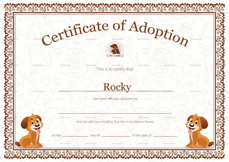 Kitten Adoption Certificate Intended For Toy Adoption for New Pet Adoption Certificate Template Free 23 Designs