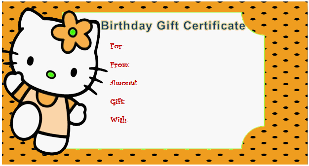 Kitty Style Gift Certificate (For Kids) in Quality Kids Gift Certificate Template