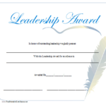 Leadership Award Certificate Printable Certificate Pertaining To Leadership Certificate Template Designs