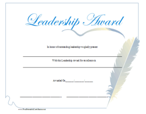 Leadership Award Certificate Printable Certificate regarding Best Leadership Award Certificate Template