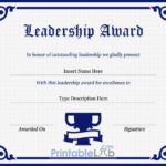 Leadership Award Certificate Template In Navy Blue, Midnight In Leadership Certificate Template Designs