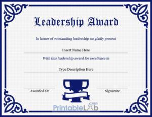 Leadership Award Certificate Template In Navy Blue, Midnight regarding Quality Leadership Award Certificate Templates