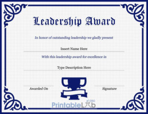 Leadership Award Certificate Template In Navy Blue, Midnight with regard to New Leadership Award Certificate Template