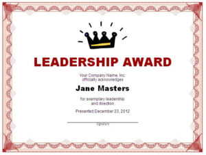 Leadership Award Template Doc Editable Msword – Certificate Throughout Quality Leadership Certificate Template Designs