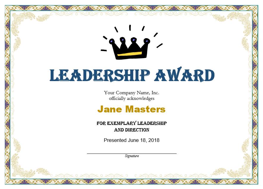 Leadership Award Templates   Certificate Template Downloads intended for Leadership Award Certificate Templates