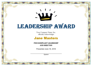 Leadership Award Templates | Certificate Template Downloads throughout Leadership Award Certificate Template
