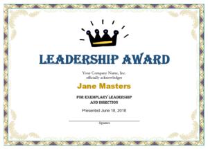 Leadership Award Templates | Certificate Template Downloads within New Leadership Award Certificate Template
