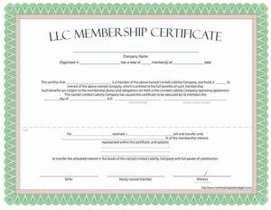 Llc Member Certificate Template Beautiful Llc Membership for Llc Membership Certificate Template Word