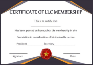 Llc Membership Certificate Template (3) – Templates Example in Unique Life Membership Certificate Templates