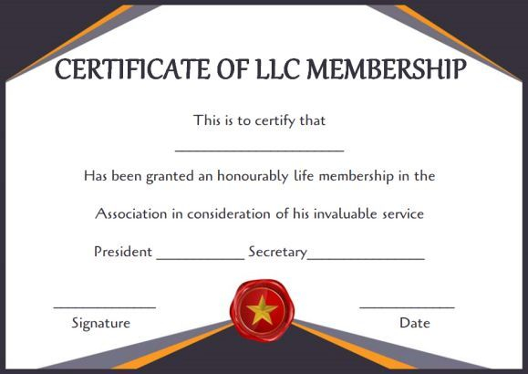 Llc Membership Certificate Template (3) - Templates Example in Unique Life Membership Certificate Templates