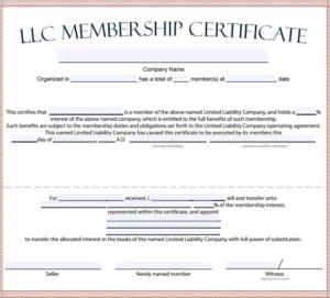 Llc Membership Certificate Template Word (1) – Templates inside Llc Membership Certificate Template