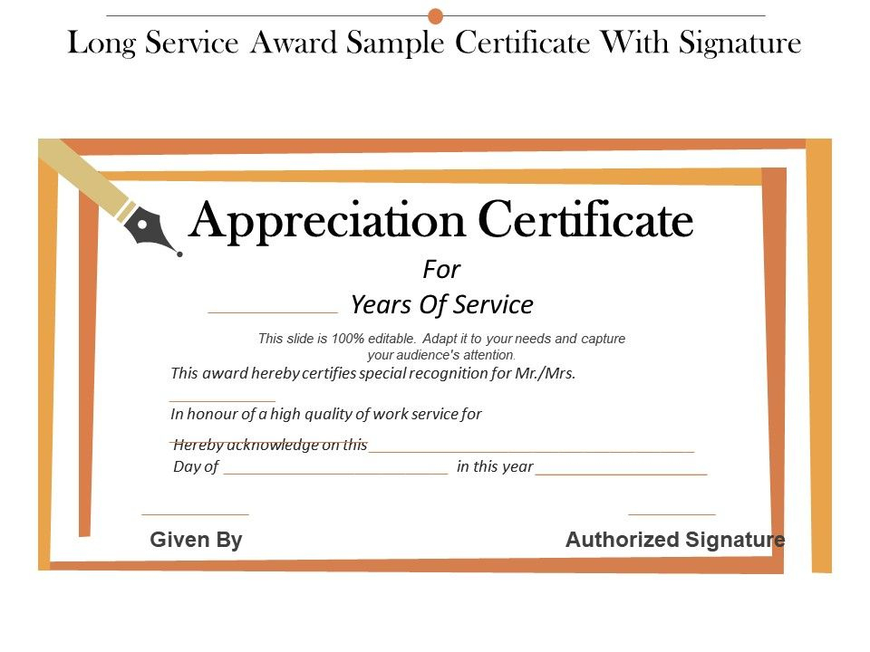 Long Service Award Sample Certificate With Signature inside Best Long Service Award Certificate Templates