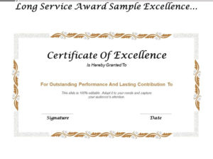 Long Service Award Sample Excellence Certificate | Templates within Award Of Excellence Certificate Template