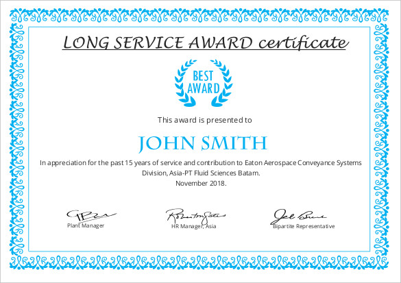Long Service Certificate Template Sample (7) | Professional in Long Service Award Certificate Templates