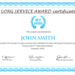 Long Service Certificate Template Sample (7) | Professional throughout Quality Long Service Certificate Template Sample