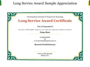 Long Service Certificate Template Sample | Certificate within Quality Long Service Certificate Template Sample