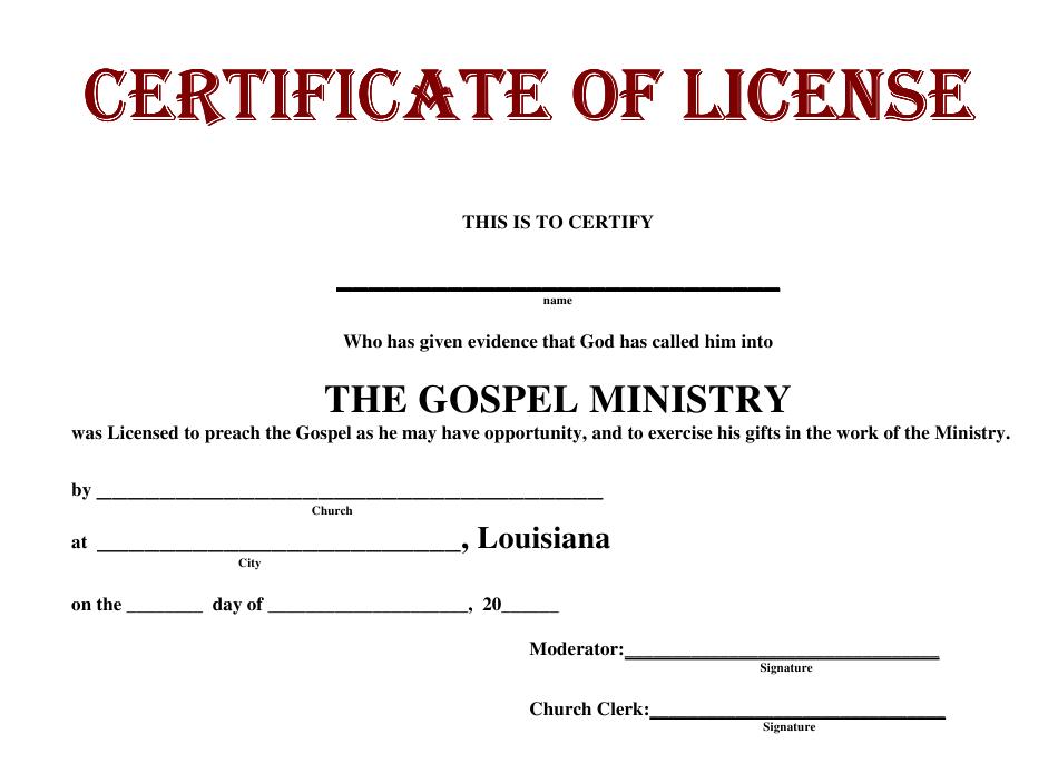 Louisiana The Gospel Ministry License Certificate Template for Certificate Of License Template