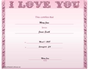 Love Certificate Printable Certificate | Certificate inside Love Certificate Templates