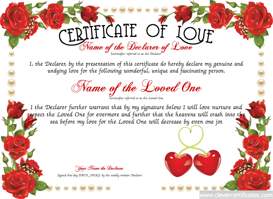 Love Certificate Templates (1) - Templates Example For New Love Certificate Templates