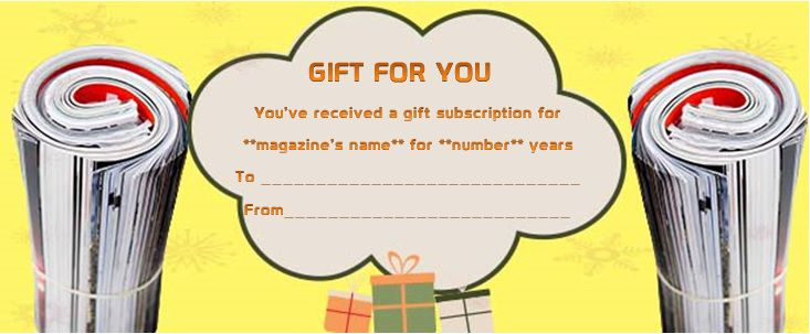 Magazine Subscription Gift Certificate Template (10 with Best Magazine Subscription Gift Certificate Template