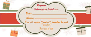 Magazine Subscription Gift Certificate Template : 15+ intended for Best Magazine Subscription Gift Certificate Template