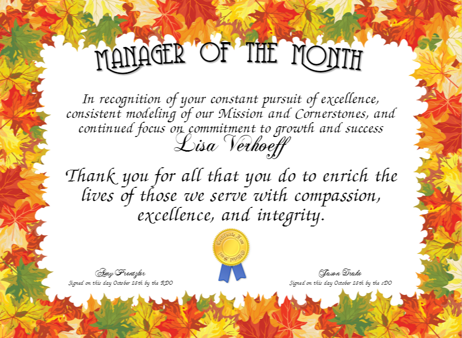 Manager Of The Month Certificate Template (1) - Templates with Manager Of The Month Certificate Template