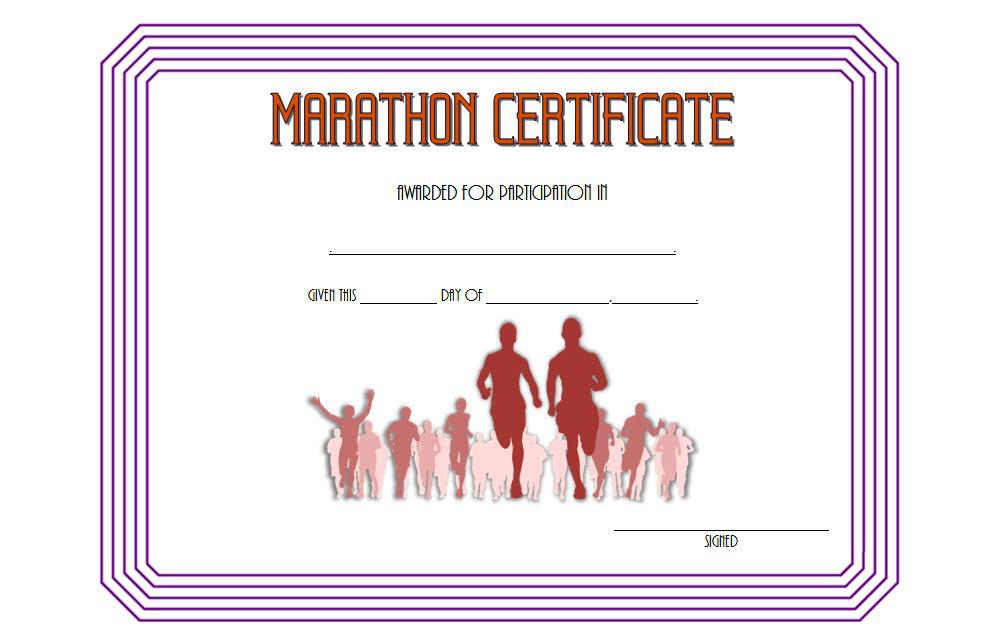 Marathon Participation Certificate Template Free 3 for Marathon Certificate Templates