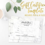 Marble Gift Certificate Card Template Photoshop Template Illustrator Vector  Vorlage Small Business Branding Geschenkgutschein For Fresh Small Certificate Template
