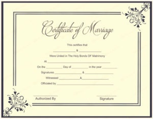 Marriage Certificate Template Microsoft Word Elegant 10 in Marriage Certificate Template Word 10 Designs