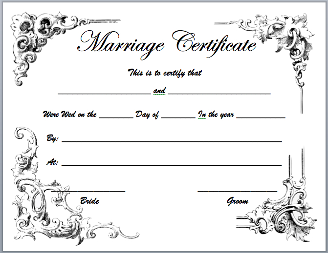 Marriage Certificate Templates - Microsoft Word Templates for Marriage Certificate Editable Templates