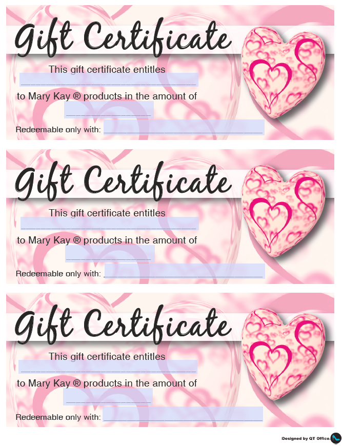 Mary Kay® Valentine'S Gift Certificates - Qt Office® Blog regarding Mary Kay Gift Certificate Template