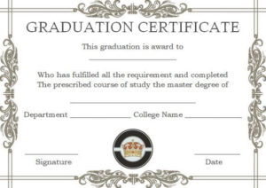 Masters Degree Certificate Templates | Degree Certificate regarding College Graduation Certificate Template