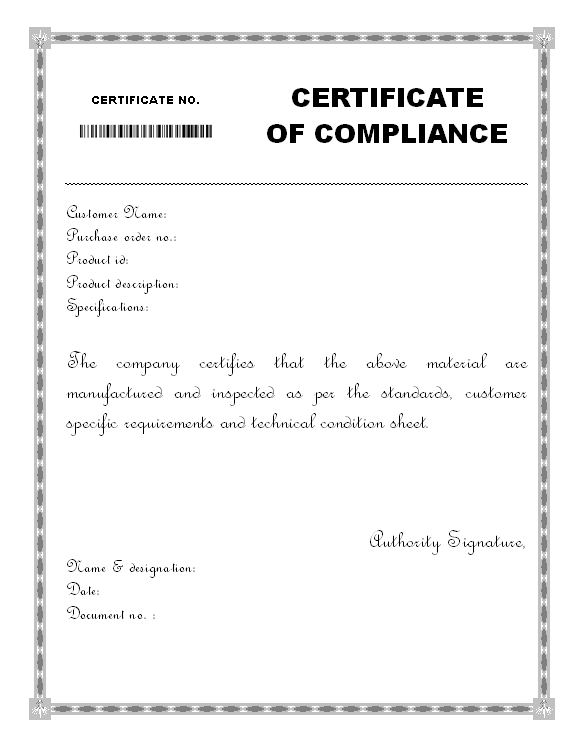 Material Certificate Of Compliance Form - for Fresh Certificate Of Compliance Template
