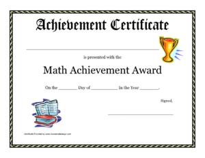 Math Achievement Award Printable Certificate Pdf Math within Fresh 10 Science Fair Winner Certificate Template Ideas