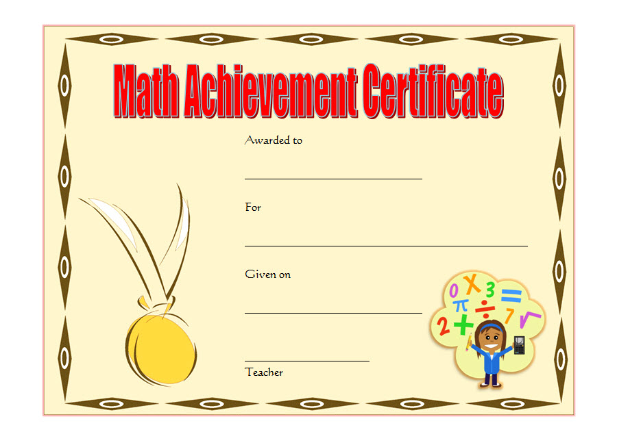 Math Achievement Certificate Template 5 Free | Certificate Throughout Math Achievement Certificate Printable