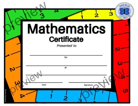 Math Certificate, Pdf Math Certificate, School Certificates, Classroom  Certificates, Templates, End Of Year Certificates, Math Awards in Math Certificate Template