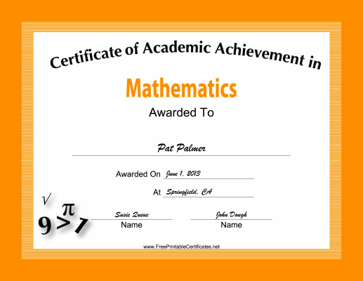 Mathematics Academic Certificate Printable Certificate for Academic Achievement Certificate Template