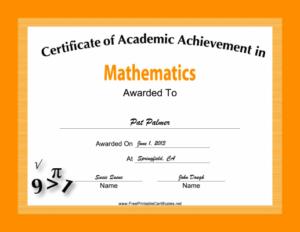 Mathematics Academic Certificate Printable Certificate Inside Math Achievement Certificate Printable