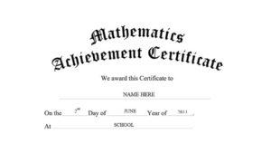 Mathematics Achievement Certificate Free Templates Clip Art With Regard To Quality Math Achievement Certificate Printable